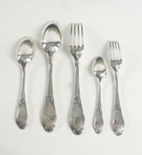 Henin & Cie French Sterling Silver Dinner Flatware 74 Pieces, circa 1880