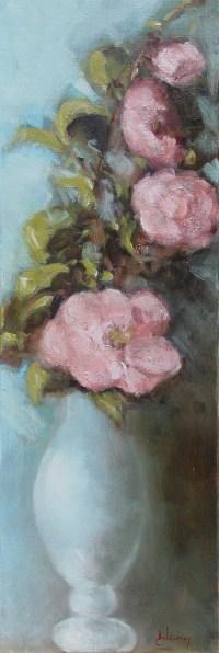La Dame aux Camélias 1/2 - Huile sur toile 60x20 cm