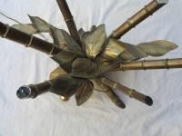 1950/70′ Table Décor Bambou en Bronze Style Duval Brasseur Éclairante