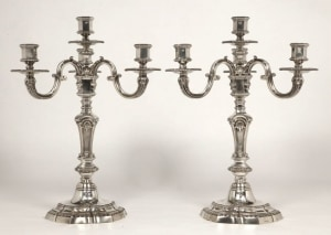 Orfèvre AUCOC  - Paire de Candélabres en Argent XIXème