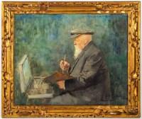 Huile sur toile, Portrait d'un peintre, Louis-Rémy Sabattier
