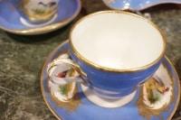 Service à thé ou café aux oiseaux bleu céleste