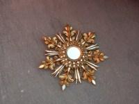 1970′ Miroir Soleil Décor Flocon De Neige, Bois Doré, Diamètre 72 cm