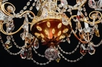Chandelier of Maison Bagues, 1940, 12 lights, crystal, highly decorative with candlesticks in opaline glass