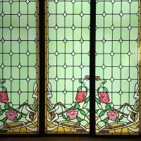 2 paires de vitraux clématites et pivoines
