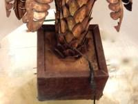 1970′ Palmier 2 Têtes Éclairantes en Fer Patiné Style Maison Jansen