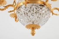Suspension de style Empire en cristal et bronze doré, vers 1950
