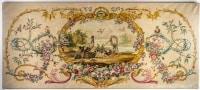 Projet de carton de tapisserie de la facture d'Aubusson. Ornementation d'arabesques, de fleurs et d'oiseaux.