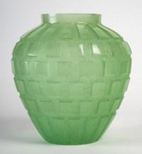 Vase « Rythmes » pâte de cristal vert, DAUM FRANCE