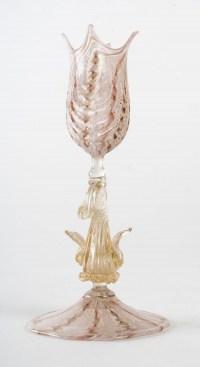 Calice avec coquille et dauphin, Murano Salviati, 1870.