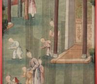 Silk, Chinese Painting, Nineteenth Century, Temple Scene, Asia