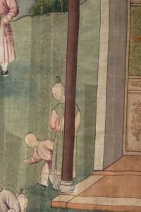 Soie, Peinture Chinoise, XIXème Siècle, Scène De Temple, Asie
