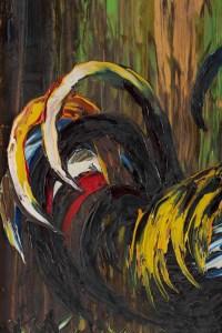 """Tableau de S. Abrys """"les 2 Coqs"""" 1950"""