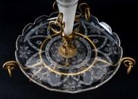Coupe en cristal gravé et bronze coupe et cône soliflore