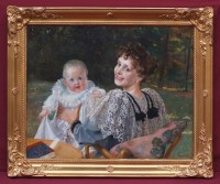RECIPON Georges Mother and Child in the Garden, Painting 19th Century 1894