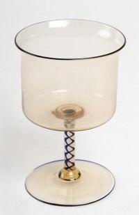 Verre ambre à pied à retorti bleu, Salviati Dott. Antonio 1872-1895
