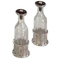 Jean E. Puiforcat Pair of Silver and Cristal Bottle