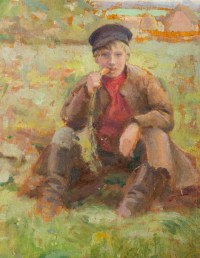 Huile sur Bois, Petit garçon mangeant une carotte