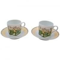 "Lalique, 6 Cups and Saucers ""Perles"" Limoges Porcelain"