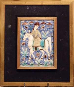 Paire de carreaux Iraniens en céramique du XIXème