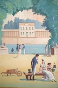 Paravent Directoire figurant un jardin d'inspiration néoclassique, fin XVIIIème siècle