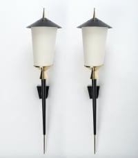 """Grande Paire d'appliques """"Lanternes"""" Maison Arlus 1950"""