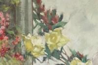Peinture sur bois du XXème siècle d'un bouquet de fleurs devant un miroir