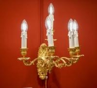 Paire d'appliques bronze  à 5 bras de lumière