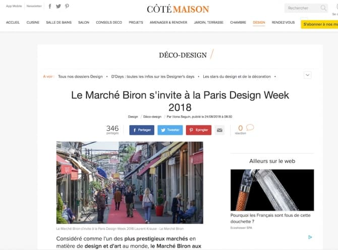 Article Paris Design Week 2018 dans Côté Maison par Iliona Seguin||