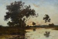 Richet Léon Tableau XIXè école Barbizon Peinture Paysage Française XIXè Huile Sur Toile Signée