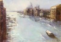 """Tableau """"Grand canal, nocturne - Venise"""" Huile sur toile"""