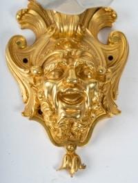 Paire d'appliques en bronze doré, Napoléon III, XIXème.