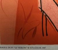 """DUFY Raoul Lithographie en couleurs """" Le violon et le piano """""""