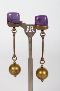 Boucles d'oreilles en résine et bronze