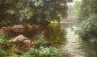 His René Peinture Française Début XXème Siècle Rivière En Sous Bois Huile Sur Toile Signée