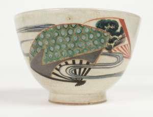 Chawan en grès émaillé polychrome de Kyoto