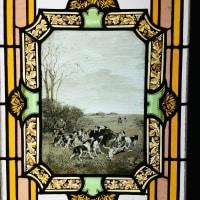 """Série de quatre vitraux """"chasse à courre"""""""