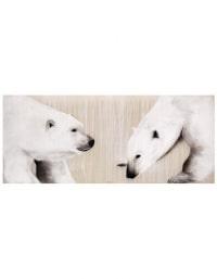 Thierry BISCH (1953). Deux ours blancs. Huile sur toile