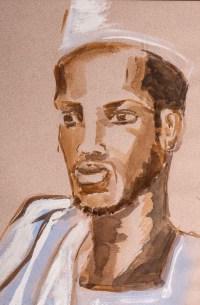 Portrait d'un Africain, XXème Siècle. Aquarelle sur papier Evelyne Luez, école de Paris