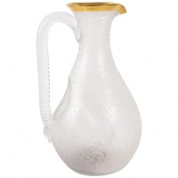 Engraved And Gilded Crystal Carafe With Ice Cube Tank