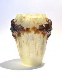 """Vase """"Masques"""" pâte de verre jaune, verte et ocre de Gabriel ARGY-ROUSSEAU"""