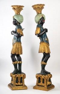 Paire de sculptures de maurs vénitiens, XIXème