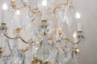 Spectaculaire Paire De Lustres, 1930-1940 En Bronze Doré Et Importantes Pampilles En Cristal