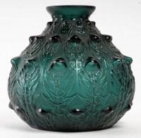 """Vase """"Fougères"""" verre vert canard de René LALIQUE"""