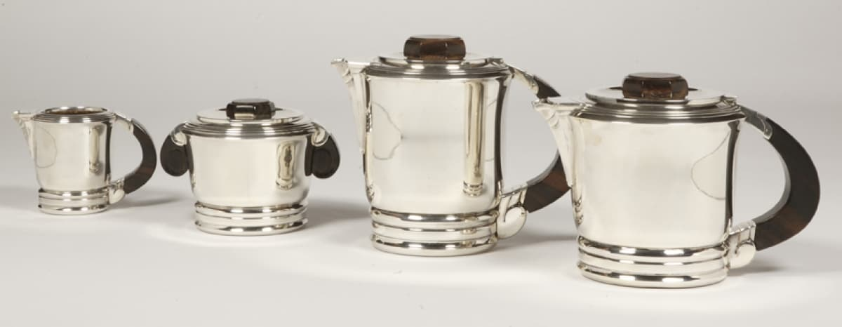SILVERSMITH COIGNET - THE / COFFEE SET IN SILVER AND ITS TRAY - ART DECO