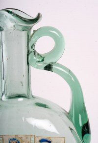 Vase gourde avec centre émaillé en verre vert turquoise, fin XIXème
