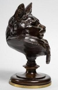 Buste Du Chat Botté Par Emmanuel Fremiet (1824 - 1910)