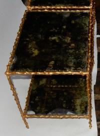 1970' Paire de Bouts de Canapé En Bronze Doré Decor Végétal  Maison Jansen Plateaux Miroirs Vieillis  49 X 37 cm