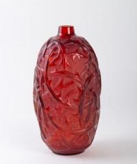 Série de vases « Ronces » verre rouge, bleu, opalescent et butterscotch de René LALIQUE