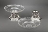 Orfèvre BOIN TABURET - Paire de coupes en argent massif et cristal taillé XIXè